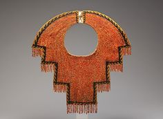 Collar Date: century Geography: Peru Culture: Chimú Medium: Spondylus shell and black stone beads, cotton Accession Number: Ethnic Jewelry, Jewelry Art, Jewellery, Jewelry Design, Ancient Jewelry, Antique Jewelry, Costume Ethnique, Peru Culture, Peruvian Textiles