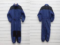 1980s A Dark Blue Skirwear Onepiece Snow Suit by by CoverVintage, $69.00