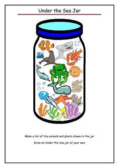 Under the Sea Jar_tes. Seaside Theme, Sea Theme, Ocean Activities, Activities For Kids, Percy The Park Keeper, Talk 4 Writing, Preschool Phonics, Sea Pirates, Ocean Crafts