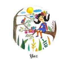 Watercolor illustrarion girl spring happy sunshine