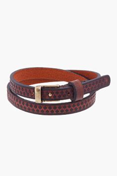 Dsquared2 Brown Leather Double-wrap Maple Leaf Armlet for men | SSENSE