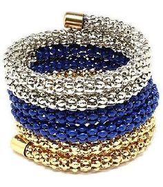 Silver, Blue & Gold Wrap Bracelet