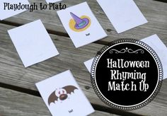 Free Printable Halloween Match Up! Game. Children practice rhyming Halloween-themed words. So cute!!