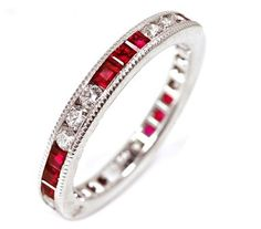 $1,675.00 18k White Gold Natural #Ruby & #Diamond #Eternity #Ring with Fine Millgrain Edge