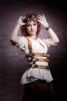 Redhair & bricks by irisabout, via Flickr, via  Steampunk'd #fashion #cosplay