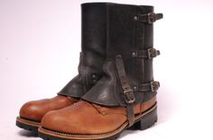 Vintage Steam Punk Leather Spats Q by MetropolisNYCVintage on Etsy