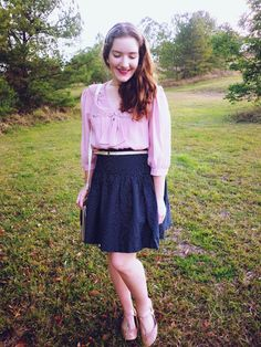 pink blouse & polka dotted skirt <3