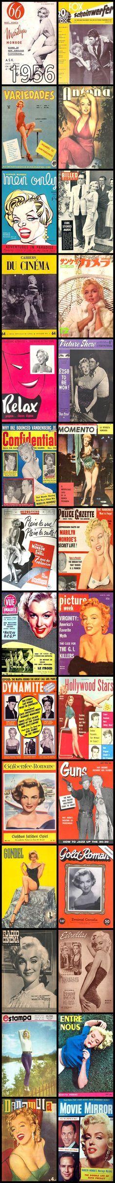 1956 magazine covers of Marilyn Monroe