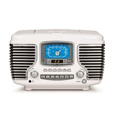 Get behind the wheel of your musical road trip with the Corsair radio! Look under the hood to pop in a CD, or tune the AM/FM radio on this color and chrome chassis. Get on the road on time with a built-in alarm clock with dual alarms. The dynamic stereo speakers and built-in Bluetooth receiver under the grill are enough to get anyone's wheels spinning in the morning! - Built-in Bluetooth Receiver - CD Player - AM/FM Radio - Built-in Full-Range Stereo Speakers - Alarm Clock - Analog Tuner - Headp Radio Cd Player, Electronic Recycling, Stereo Speakers, Jukebox, Bluetooth, Road Trip, Electronics, Alarm Clock, Chrome