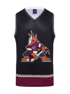 """Get ready to rock your Arizona Coyotes ALT Hockey Tank all year round! Designed after the Coyotes """"Kachina"""" jersey.  This NHL officially licensed, light-weight polyester tank top is perfect to wear any time the sun is out. Perfect for any day out in the desert. #Kachina #GoCoyotes  Officially licensed product of the NHL by Calhoun 100% Polyester 100% Machine Wash Safe Official NHL team colors and logos Fits like a """"hockey basketball jersey"""" Arizona Coyotes, Basketball Jersey, Nhl, Hockey, Tank Tops, Tanks, Retro, How To Wear, Logos"""