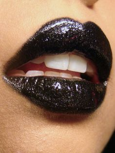 Eye Kandy Glitter in Licorice Stick. Ben Nye Lip Color in Black.