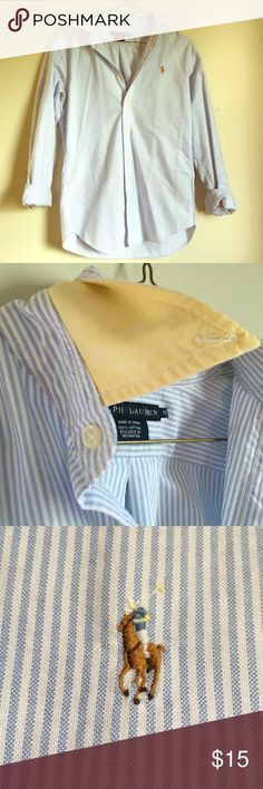 Ralph Lauren classic Oxford This Oxford is as classic as it gets! Blue and white pinstripe with yellow under the collar. Ralph Lauren Tops Button Down Shirts