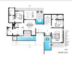 Indian House Plans, New House Plans, House Floor Plans, Modern Tropical House, Tropical Houses, Modern Architecture House, School Architecture, Tropical Architecture, Villa Plan