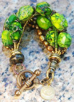 JANE Bracelet: Exotic Green Jasper, Bronze, Gold, Copper and Glass Bracelet $150 Click to buy