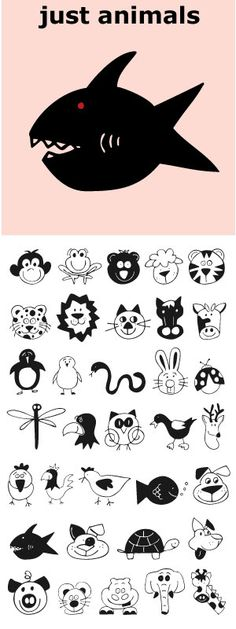 Think scrap booking or kid's party invitations. Lots of cuteness, lots of uses. Sweet Drawings, Doodle Drawings, Animal Drawings, Doodle Art, Animal Templates, School Murals, Animal Doodles, Doodle Icon, Cute Fonts