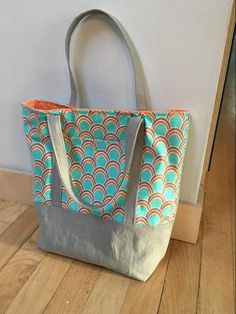 Lined Canvas Tote sewn by Sarah Rovang from The Inspired Wren Tutorial