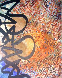 Arabic Calligraphy Painting by habibzaka on Etsy Persian Calligraphy, Arabic Calligraphy Art, Arabesque, Arabian Art, Street Art, Graphic Design Art, Typography Design, Lettering, Mellow Yellow