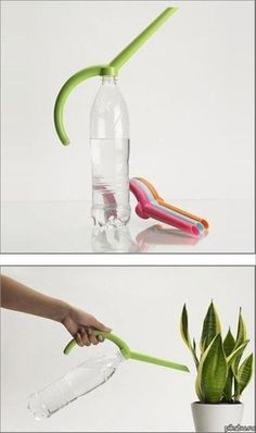 Watering can from printer - now this is a clever, elegant idea - AN (Water Bottle Hacks)
