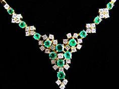 Tiffany 7.54 CTW Diamond Emerald Necklace