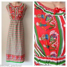 Vintage 70's Red White & Green Stripe Ladies With Parasols Cotton Midi Dress 12
