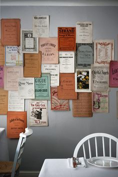 Book covers as wall art.
