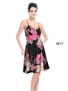 Floral Printed Empire Waist Ruffles Padded Cocktail Dress - Ever-Pretty US