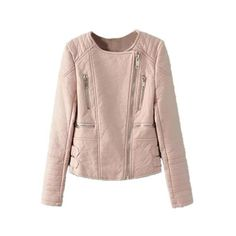 LUCLUC Pink Slim Double-Breasted Short Jacket ($61) ❤ liked on Polyvore