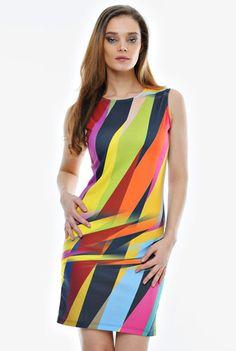 Rochie multicolora din jerse RO44 -  Ama Fashion Color, Dresses, Style, Fashion, Vestidos, Swag, Moda, Fashion Styles, Colour