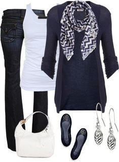 Navy & white outfit: Long navy cardigan, white tank top, blue bell-bottom jeans, flats, scarf, & white purse - don't care for shoes or scarf, but love the outfit! Krissy :)