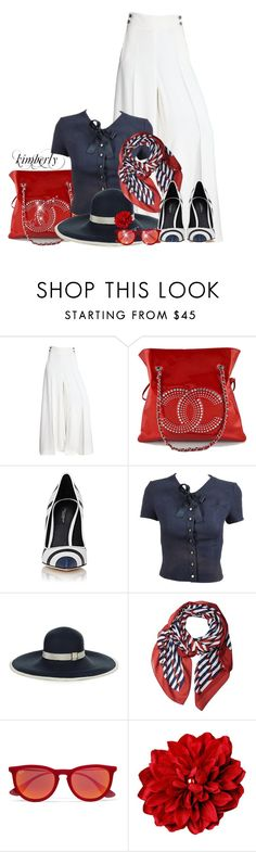 Red White and Blue by cavell on Polyvore featuring Chanel, Salvatore Ferragamo, Dolce&Gabbana, Filù Hats, Marc Jacobs and Ray-Ban