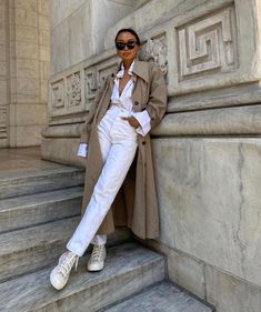 Fall Winter Outfits, Autumn Winter Fashion, Spring Outfits, White Outfits, Trendy Outfits, Fashion Outfits, Trench Coat Outfit, Street Style, Looks Style