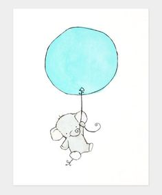 Take a look at this Aqua Elephant Balloon Print by trafalgar's square on #zulily today!