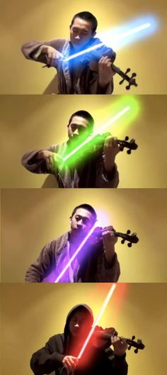 Lightsabers are just used for Jedi duels. This musician used a lightsaber to play his violin - UM HECK YES. Han Shot First, Star Wars Food, Star Wars Crafts, Star Wars Light Saber, Fun Fair, The Force Is Strong, Star Wars Party, Death Star, Star Wars Humor