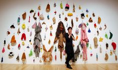 French artist Annette Messager stands with one of her installations during the press view of the  Annette Messager: The Messengers exhibitio...