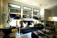 Living room wall decor ideas with mirrors modern living room mirror Small Space Living, Small Rooms, Small Apartments, Living Room Remodel, Apartment Living, Apartment Plans, Living Room Interior, Living Room Decor, Living Rooms