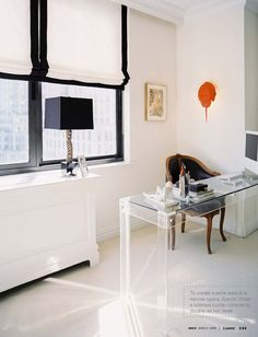 lucite desk, masculine chair