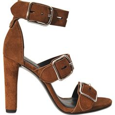 Alexander Wang Bridget buckle sandal ($705) ❤ liked on Polyvore featuring shoes, sandals, brown, leather sandals, alexander wang shoes, brown high heel sandals, brown shoes and leather ankle strap sandals