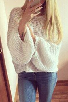 White Casual Pullover Bat Sleeves Loose Jumper - US$23.95 -YOINS