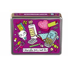 Boîte de rangement Cherche pas c'est là - Violet Derrière la Porte DLP - Décoration pratique et boite de rangement/Boîte métal derrière la p...