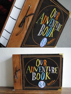 Our adventure book this would be so cute as a DIY cover for a couples scrapbook :) love it