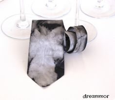 Elegant handpainted silk necktie. grey by dreammor on Etsy, €20.00