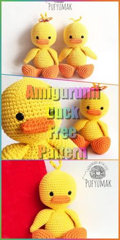 Diy Crafts - In this article we will share a beautiful amigurumi duck free pattern. You can find everything you want about Amigurumi. Crochet Bird Patterns, Crochet Bunny Pattern, Crochet Birds, Crochet Amigurumi Free Patterns, Crochet Bear, Cute Crochet, Crochet Dolls, Crochet Dinosaur, Stuffed Animal Patterns
