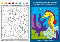 Underwater world coloring page for kids, sea horse. Coloring puzzle with numbers of color. Black and white draw with color example. Coloring Pages For Kids, Coloring Books, Mandarin Fish, Color Puzzle, American Freedom, Printable Designs, Underwater World, Baby Shark, New Pictures