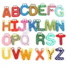Funny Magnetic Alphabet 26 Letters Wooden Fridge Magnets Educational Kids Toy (26-Pack)  - USD $5.99