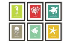 Under The Sea Nursery - Set of 6, Choose Colors, Nautical Kids Decor, Sea Life Art, Baby Sea Animals, Ocean Nursery, Gender Neutral
