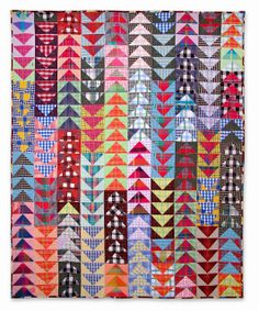 "Plaids & Stripes in a great HST quilt. One of my favorite quilt patterns--flying geese. Here, ""Flying Plaids"" at Nifty Quilts. Patchwork Quilt Patterns, Scrappy Quilts, Quilting Patterns, Mini Quilts, Quilting Ideas, Baby Quilts, Quilting Projects, Quilting Designs, Patch Quilt"