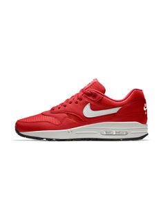 new concept fcd15 e32af Nike Mens Air Max 1 Essential iD Red White Shoe Snicker Shoes, Sneakers Nike