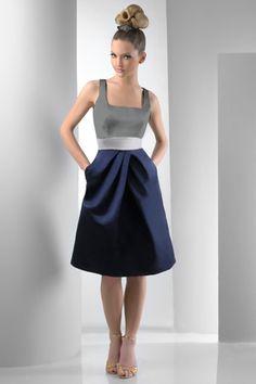 A very fun and sheek Bari Jay bridesmaid dress! Our Silver and Navy Blue linens would a perfect color combination! #barijay #short #cocktail #navy #silver #bridesmaid #dress #wedding #party #colorblock