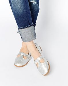 Image 1 of Daisy Street Silver Mary Jane Flat Shoes