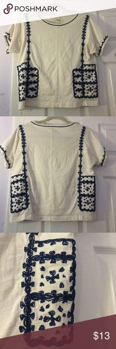 Madewell boho top Adorable boxy boho top, worn a few times but no stains and in great condition! Madewell Tops Tees - Short Sleeve
